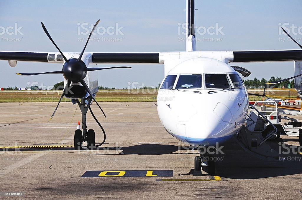 Bombardier Dash 8-Q402 parked. stock photo