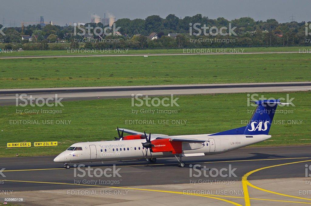Bombardier DHC-8 of Scandinavian Commuter stock photo