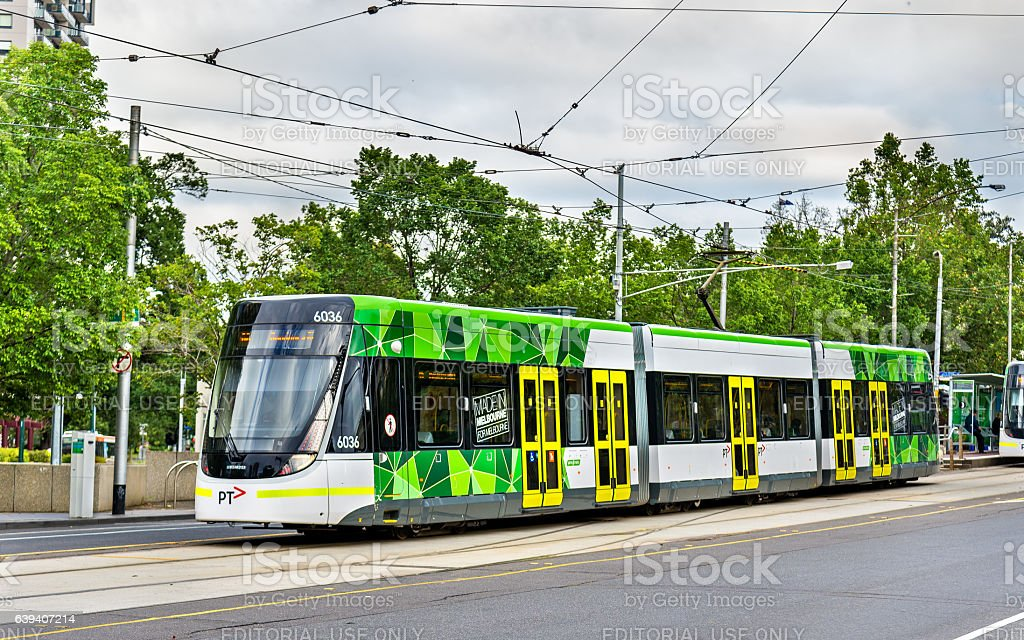 Bombardier E Class tram at Parliament Station in Melbourne, Australia stock photo