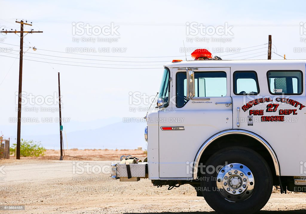 Bombay Beach Fire Engine stock photo