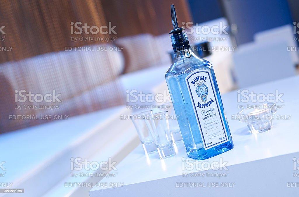 Bombay Sapphire Gin Bottle in Nightclub stock photo