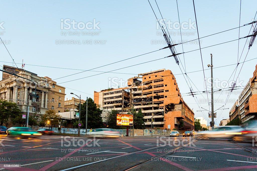 Bombed Yugoslav Ministry of Defense Building in Belgrade, Serbia stock photo