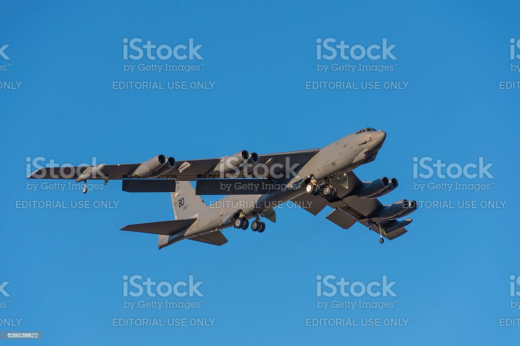 B-52 Bomber approaches Barksdale AFB stock photo