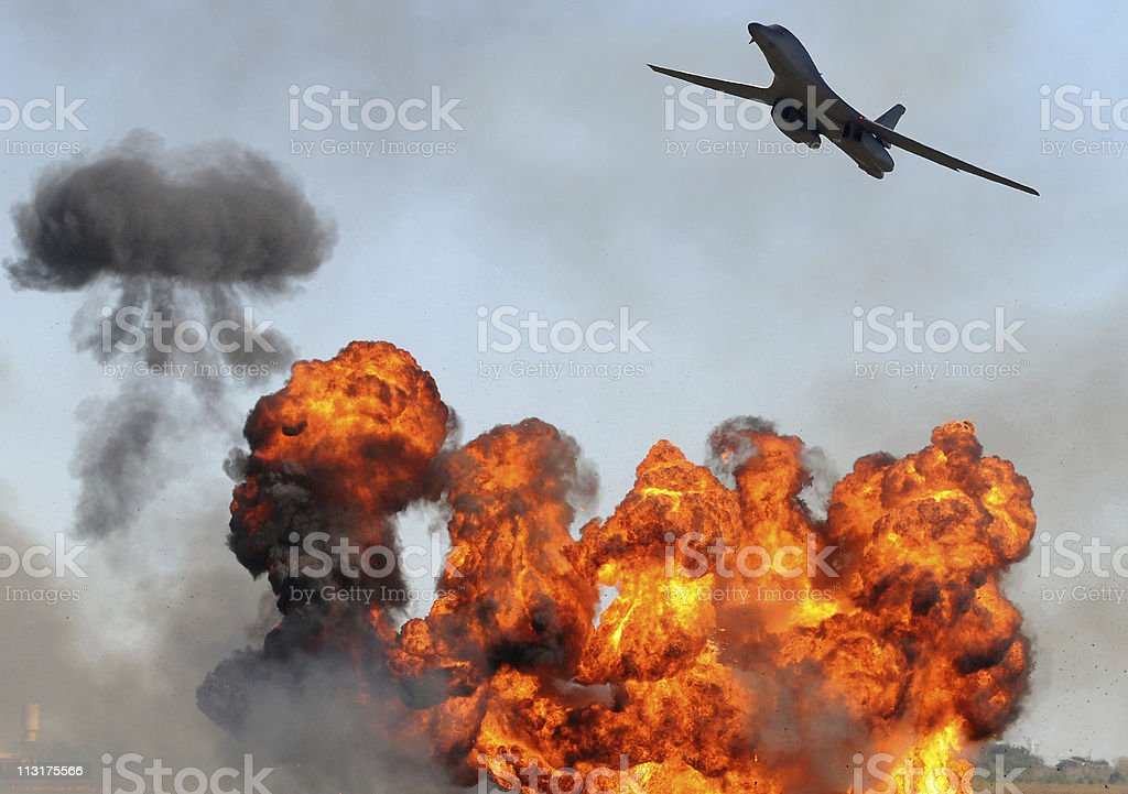 Bomber attacking target stock photo