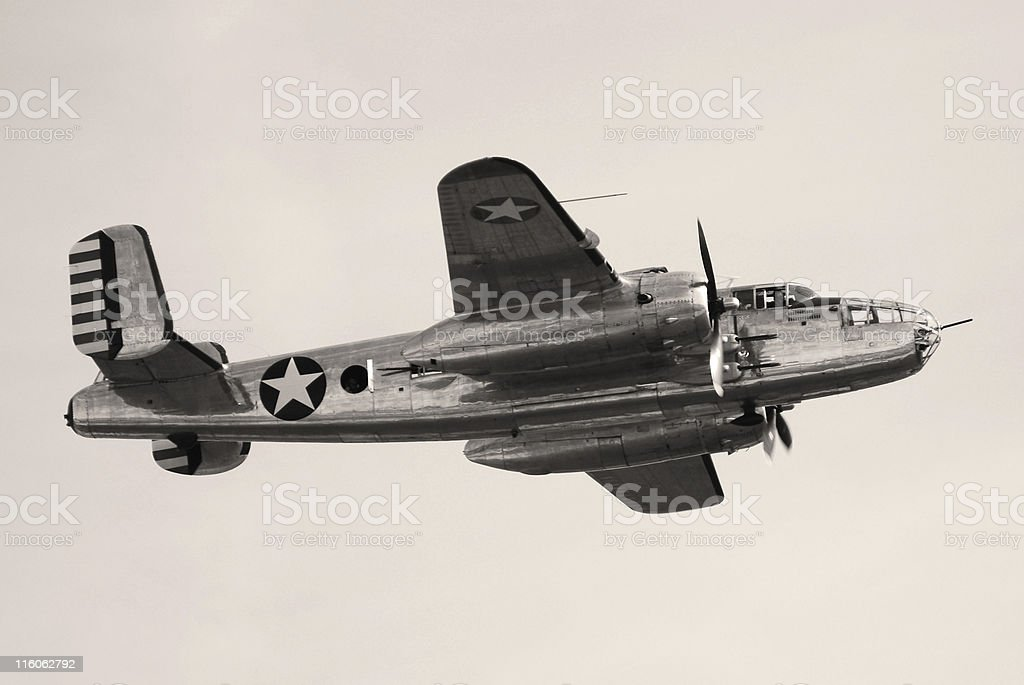 WWII bomber B25 Mitchell flying stock photo