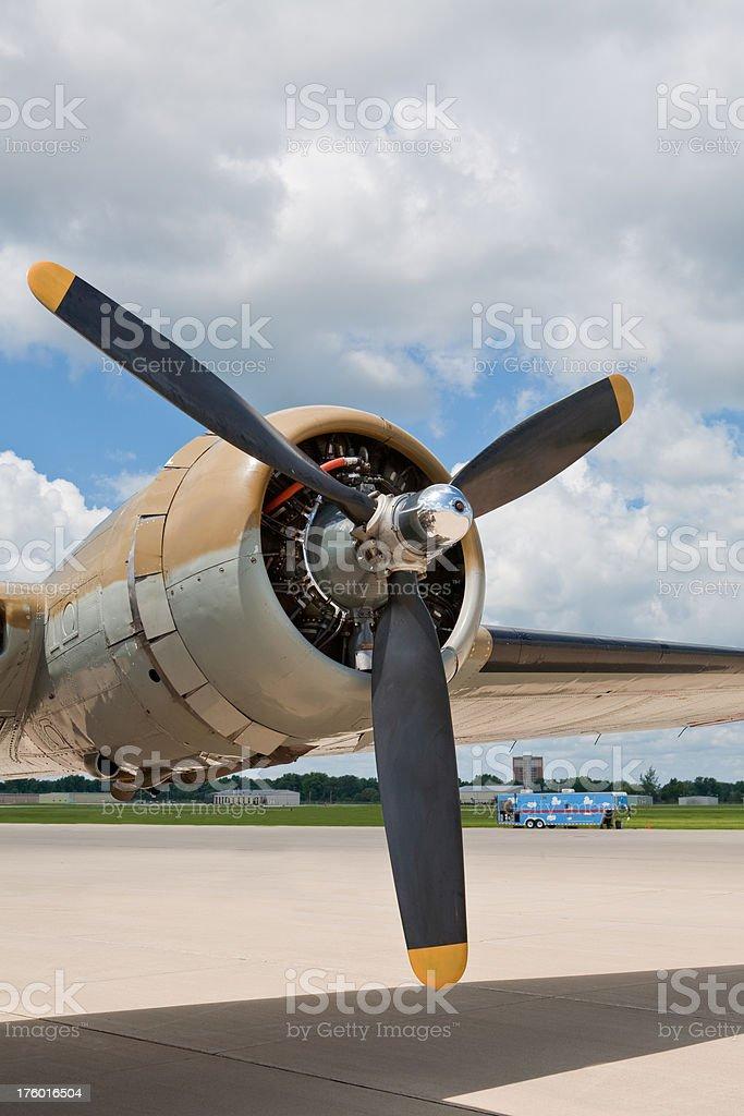 B-17 Bomber Engine and propellar WW2 Vintage royalty-free stock photo