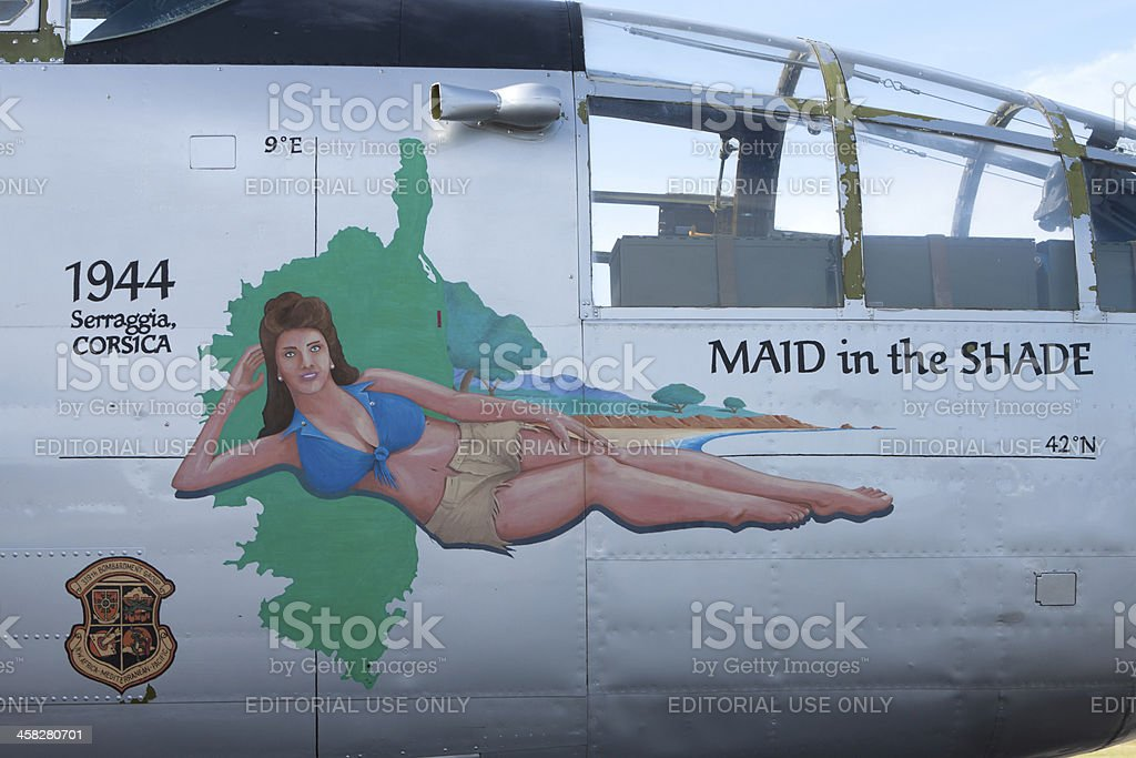 B-25 Bomber Maid In The Shade royalty-free stock photo