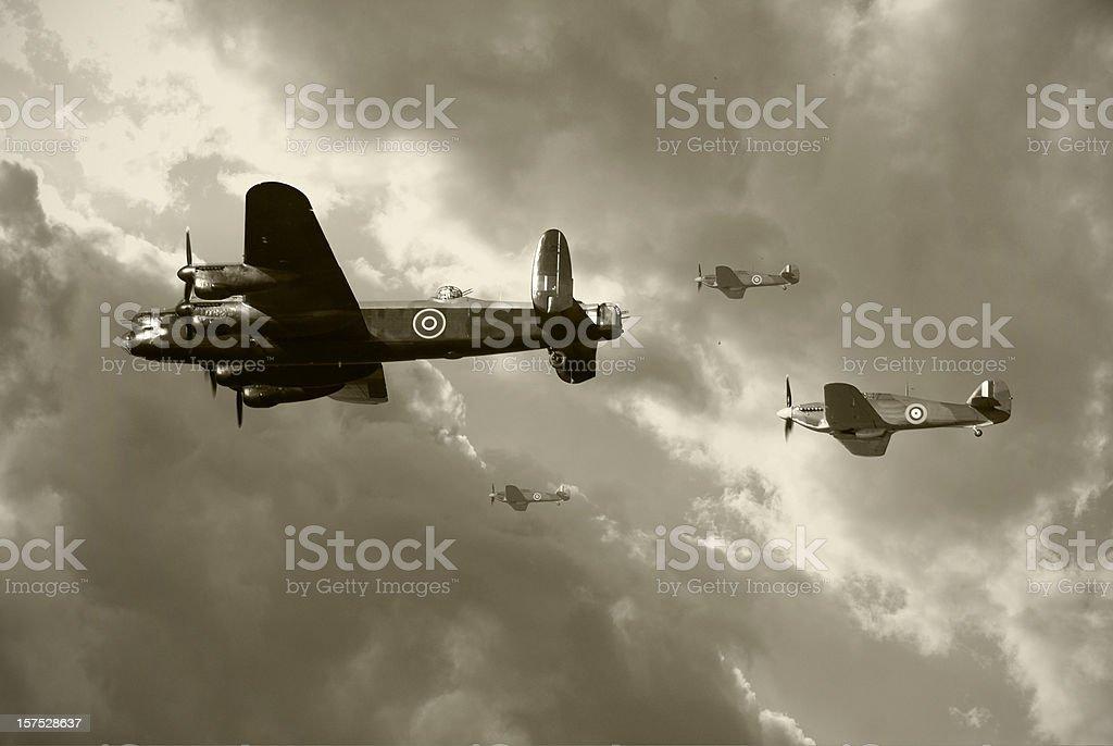 Bombing run in World War 2 stock photo