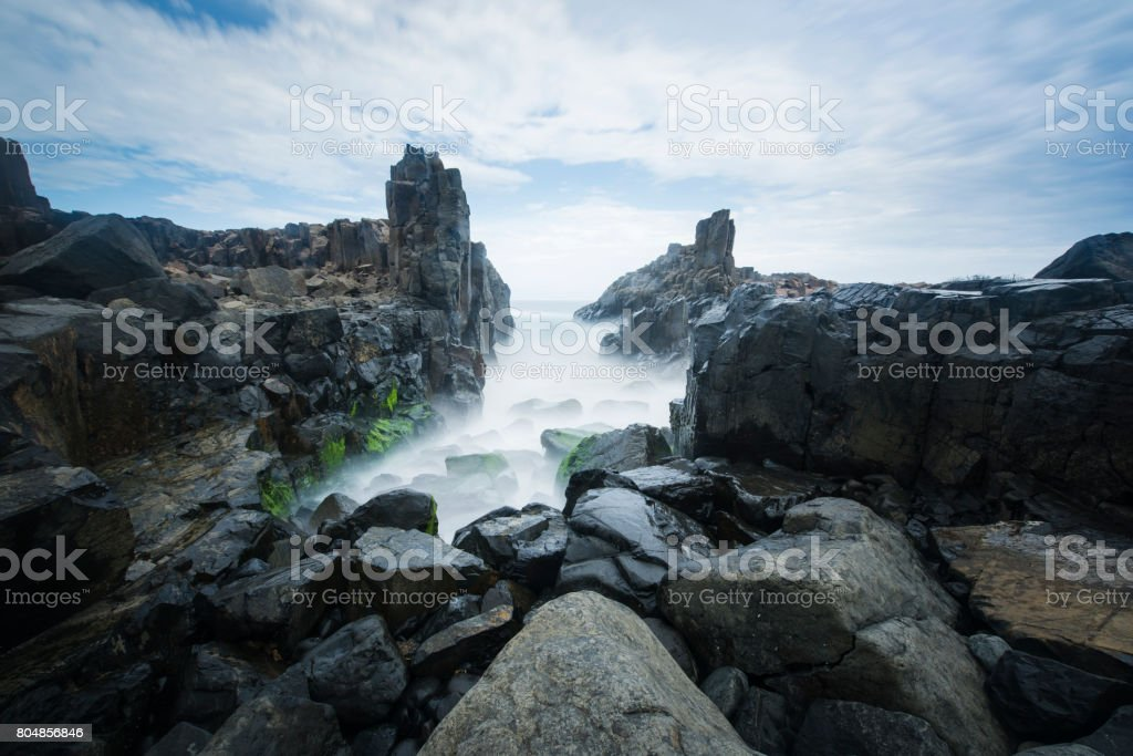 Bombo Headland waterfall in Kiama, Australia stock photo
