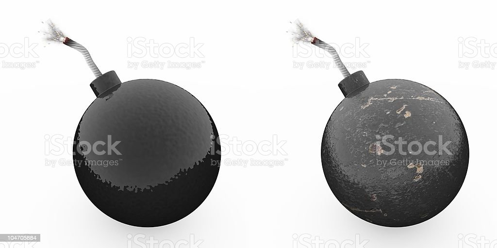 Bombs with lit fuses stock photo