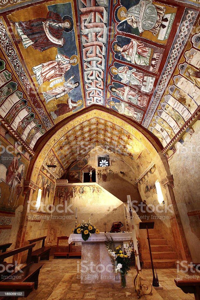 Bominaco, Oratorio di S. Pellegrino royalty-free stock photo