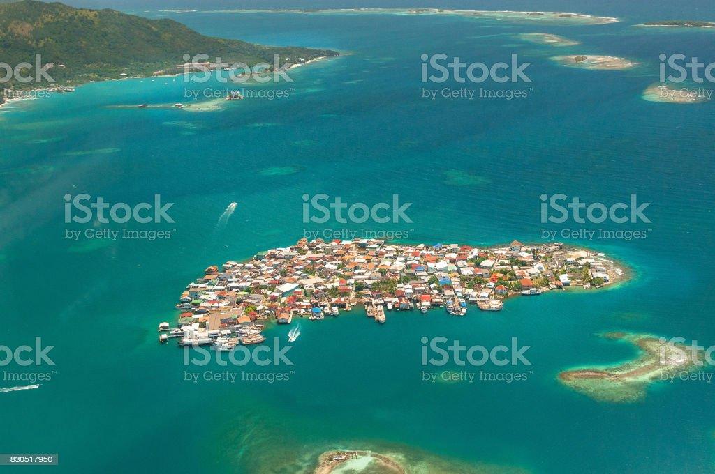 Bonacca town, Guanaja, Honduras stock photo