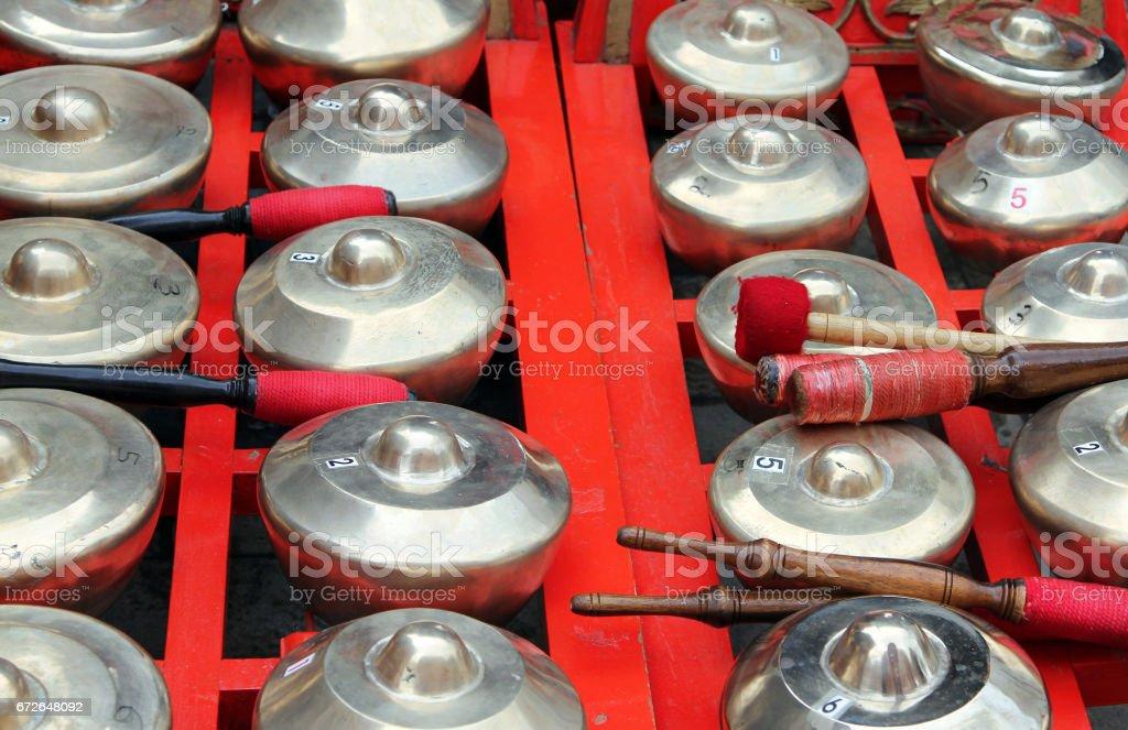 Bonang - traditional musical instrument of Javanese gamelan stock photo