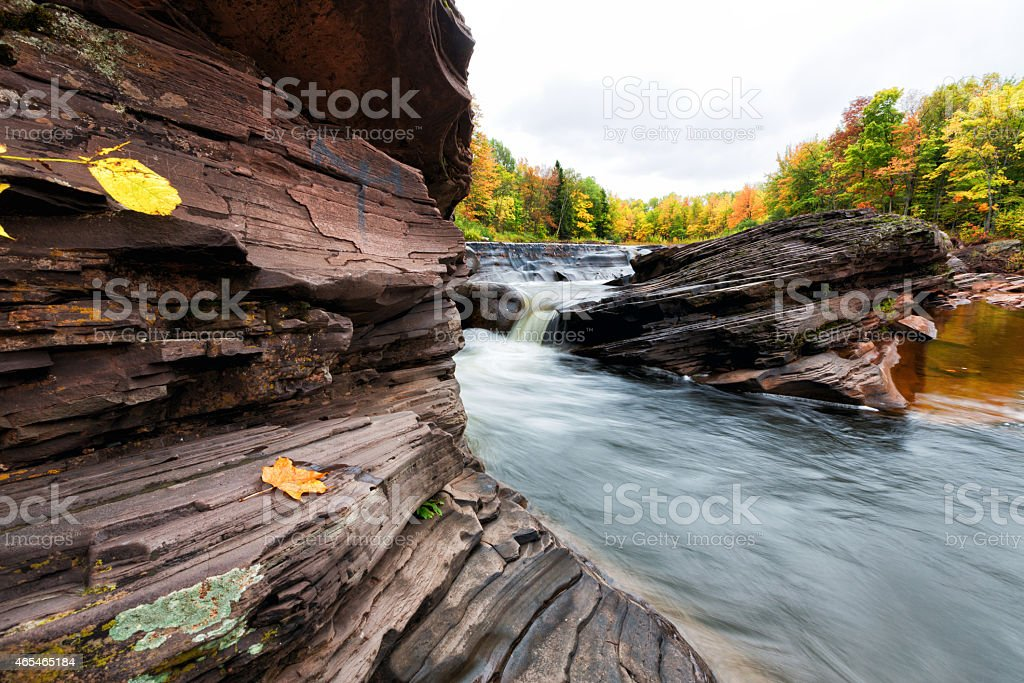 Bonanza Falls in Autumn - Michigan Upper Peninsula stock photo