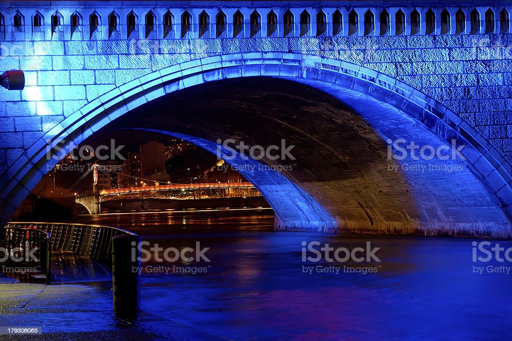 Bonaparte bridge on the river Saone  (Lyon, France) royalty-free stock photo