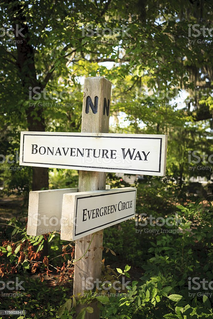 Bonaventure Cemetery Wayfinding Sign stock photo