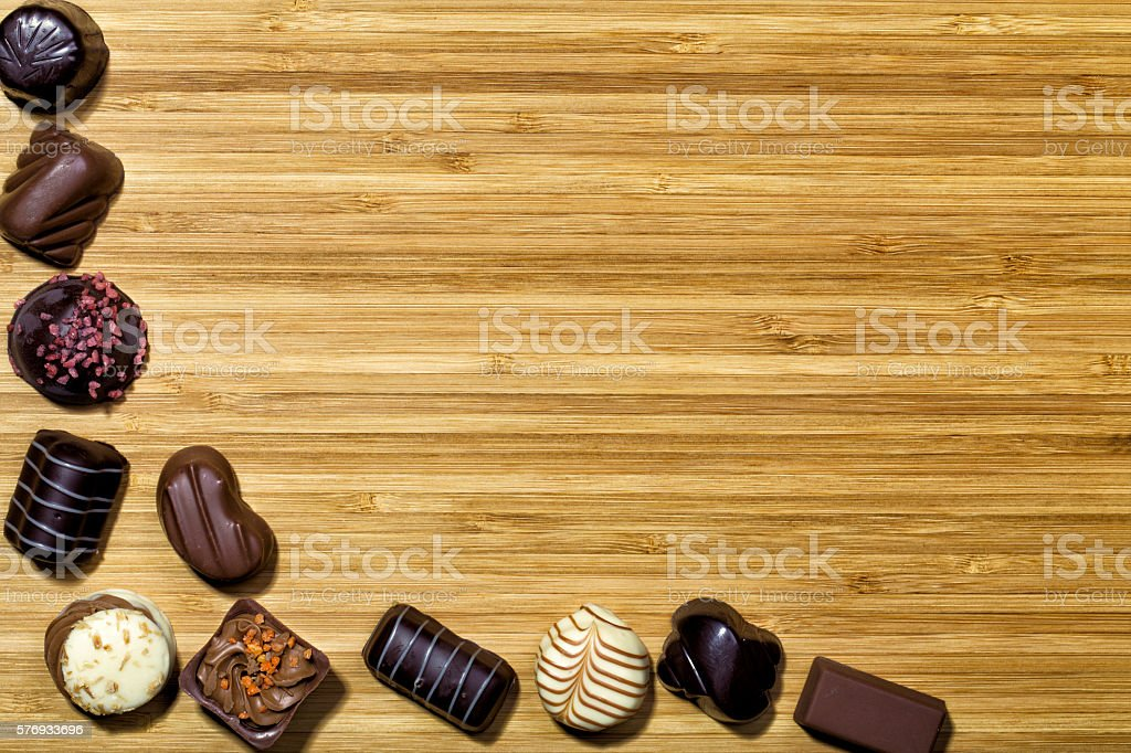 Bonbons on Bamboo Plate stock photo