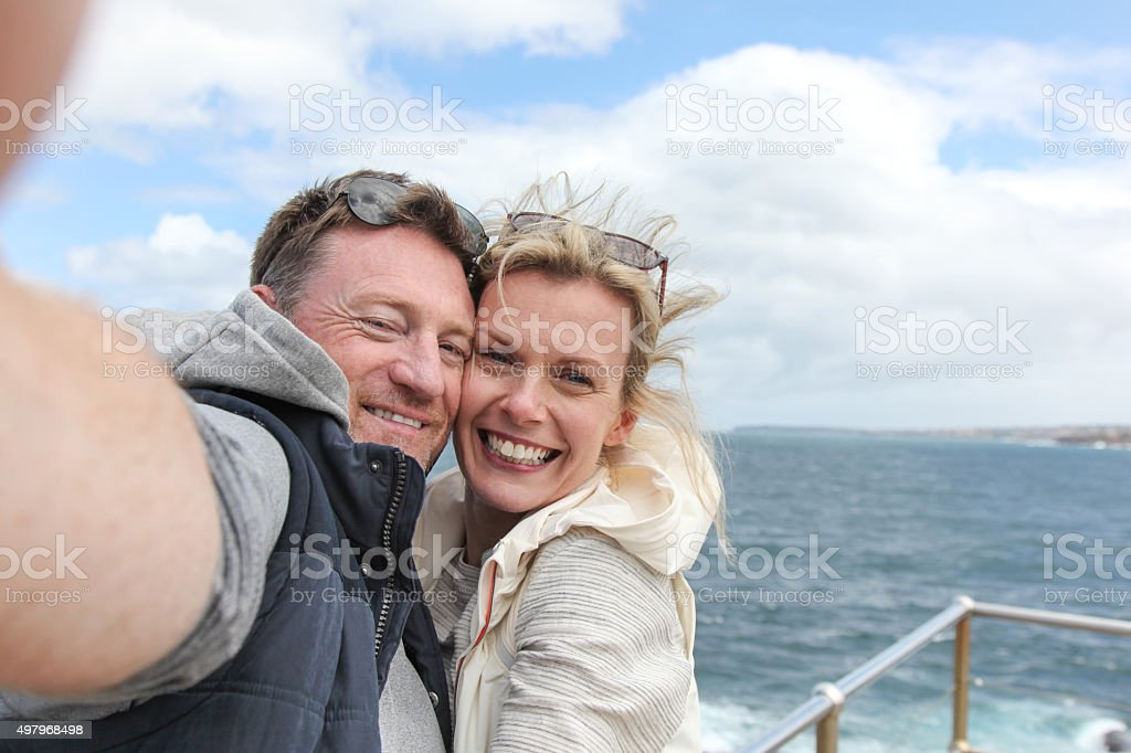 Bondi Beach - Happy Couple Selfie stock photo
