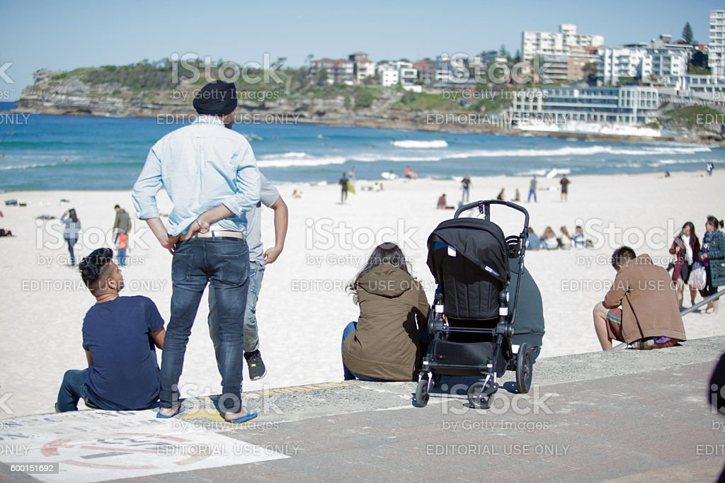 Bondi Beach Sydney beach-goers on a winter day stock photo