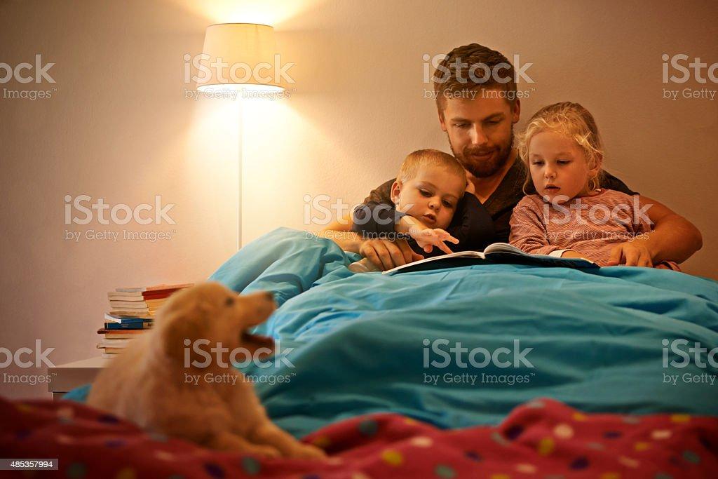 Bonding before bedtime stock photo