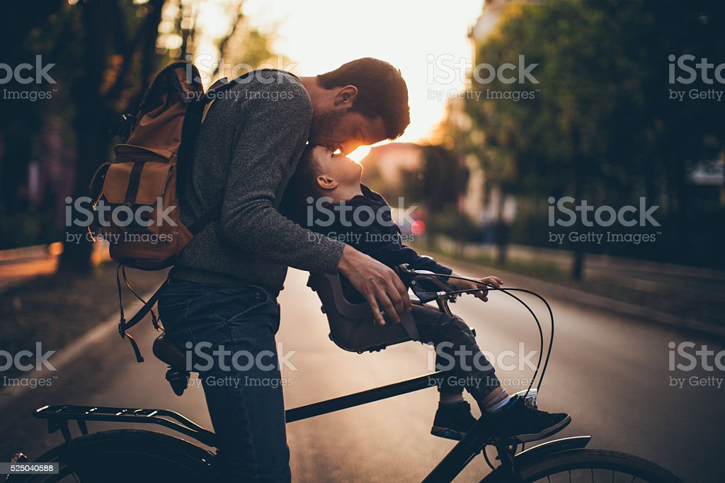 Bonding on a bicycle stock photo