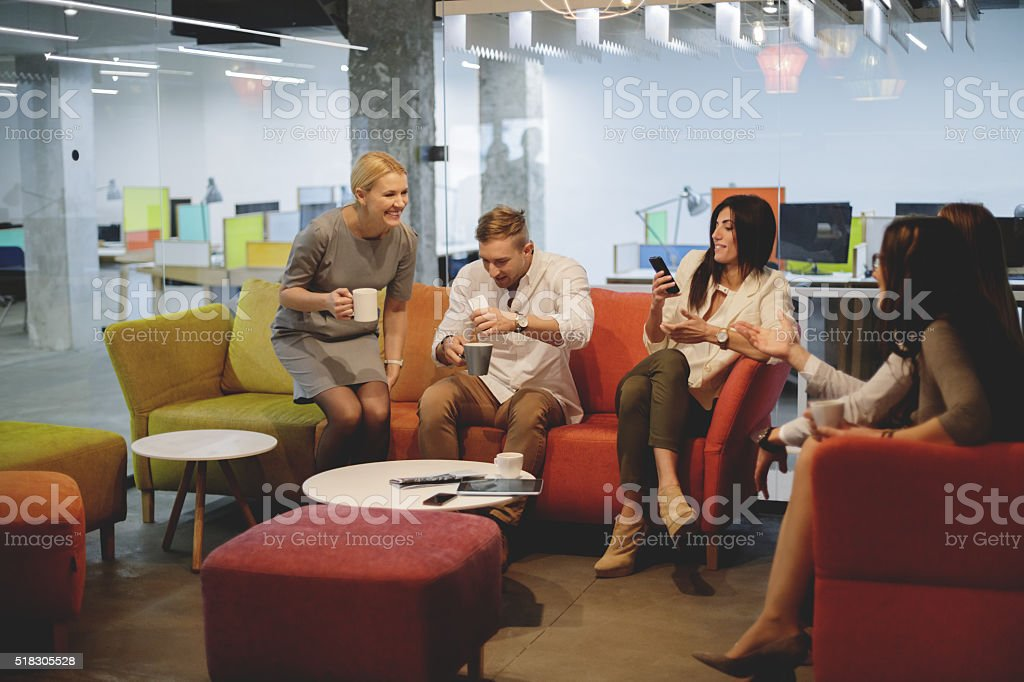Bonding on coffee break stock photo