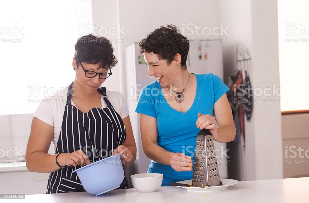 Bonding while baking stock photo