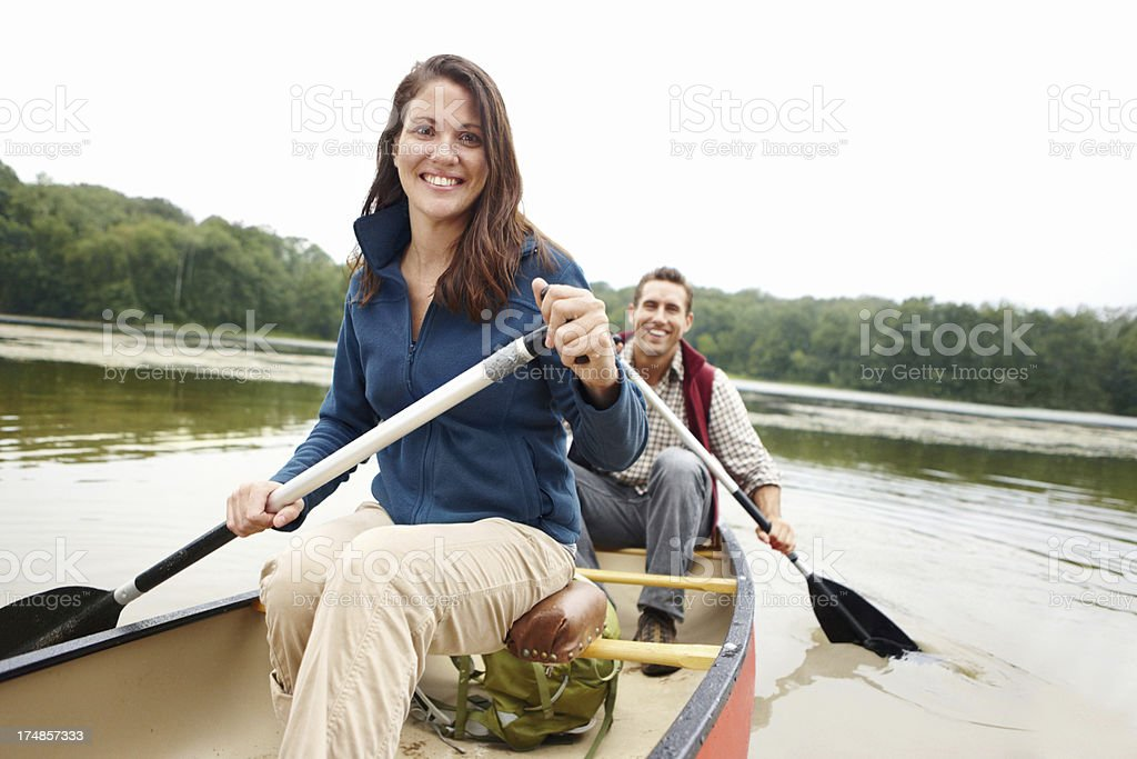 Bonding while out canoeing royalty-free stock photo