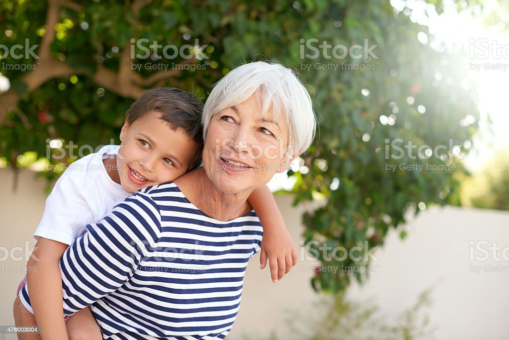 Bonding with grandma stock photo