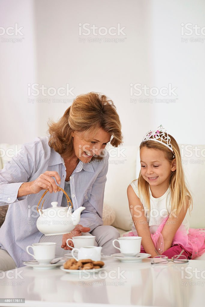 Bonding with her granddaughter stock photo