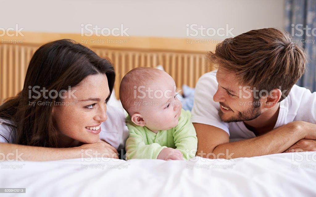 Bonding with his baby boy stock photo