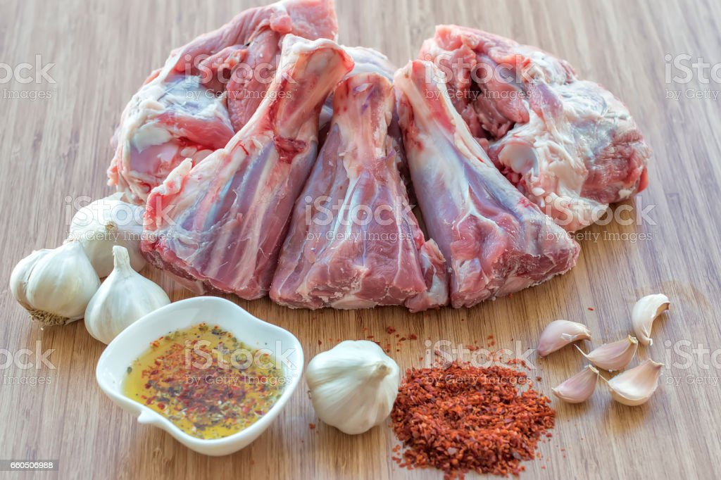 boned meat heap on the wooden floor stock photo