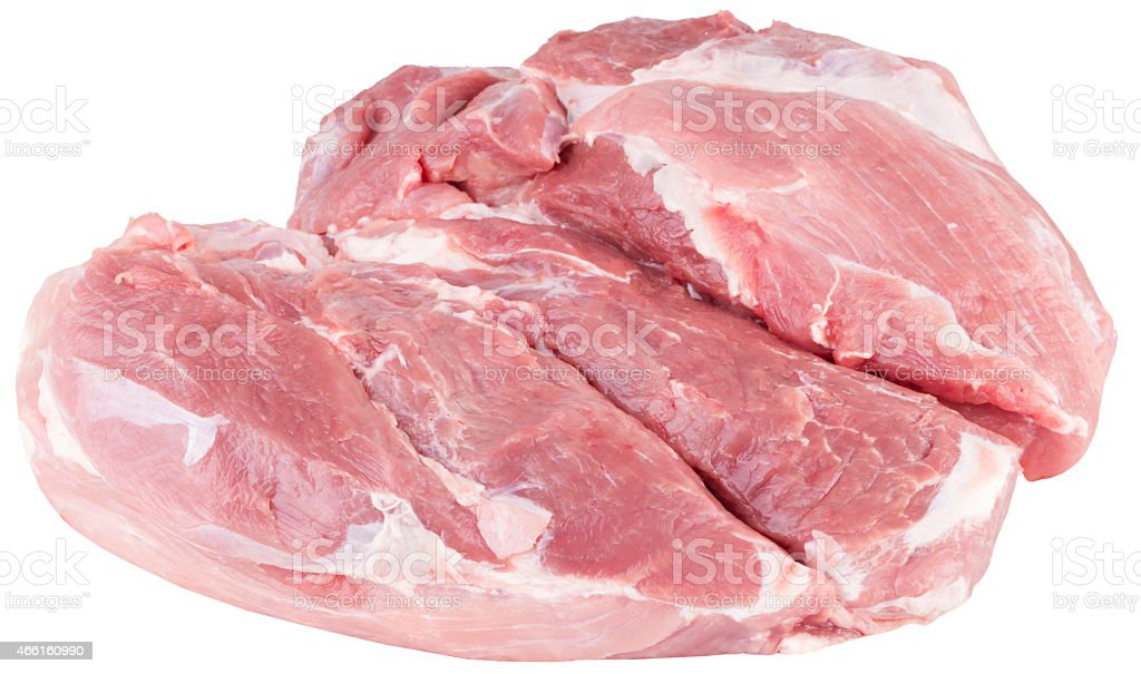 boneless pork shoulder. isolated on white background with clipping path. stock photo