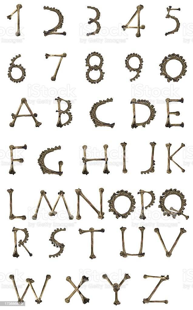bones alphabet stock photo