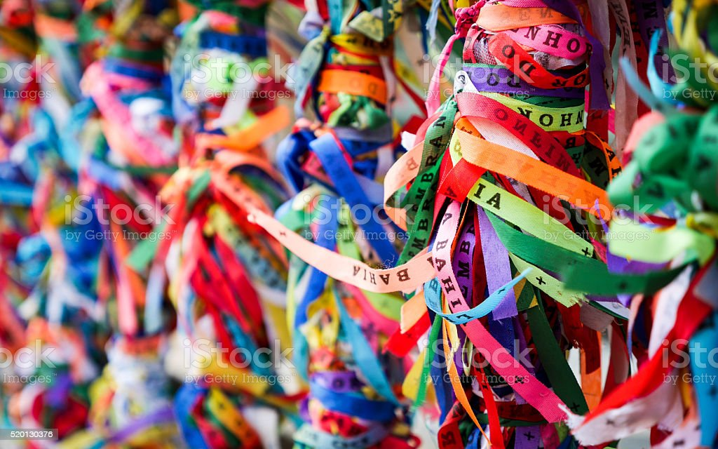 Bonfim ribbons, Salvador, Brazil stock photo