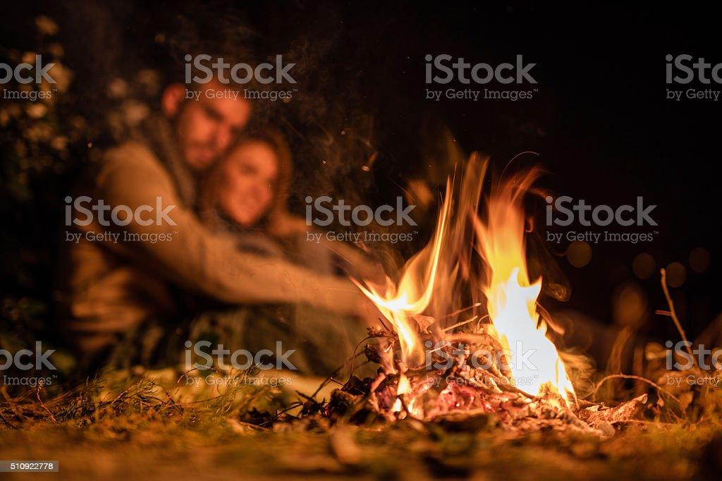 Bonfire at night! stock photo