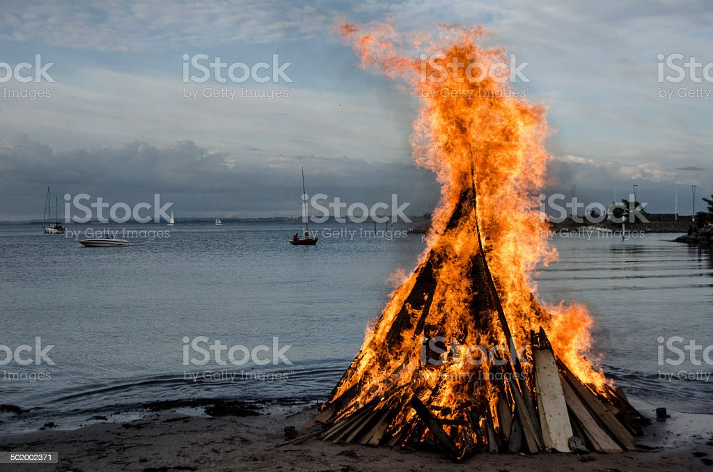 Bonfire at the beach stock photo