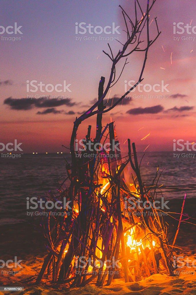 Bonfire at the beach stock photo