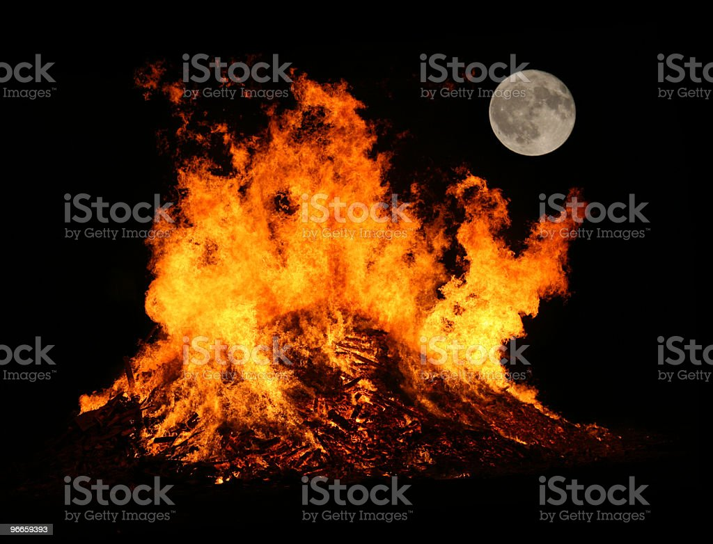 Bonfire by Mooonlight stock photo