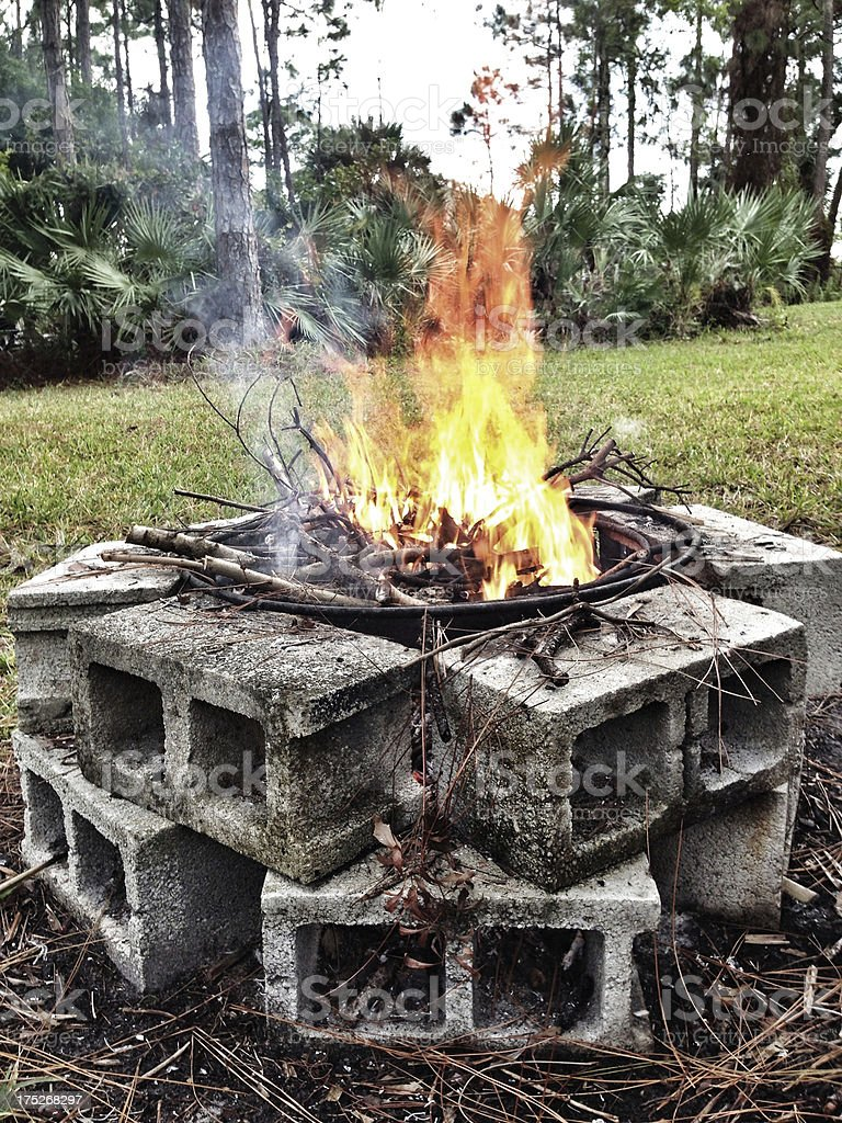 Bonfire in a fire pit royalty-free stock photo