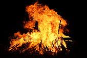 Bonfire night, camp fire in the dark
