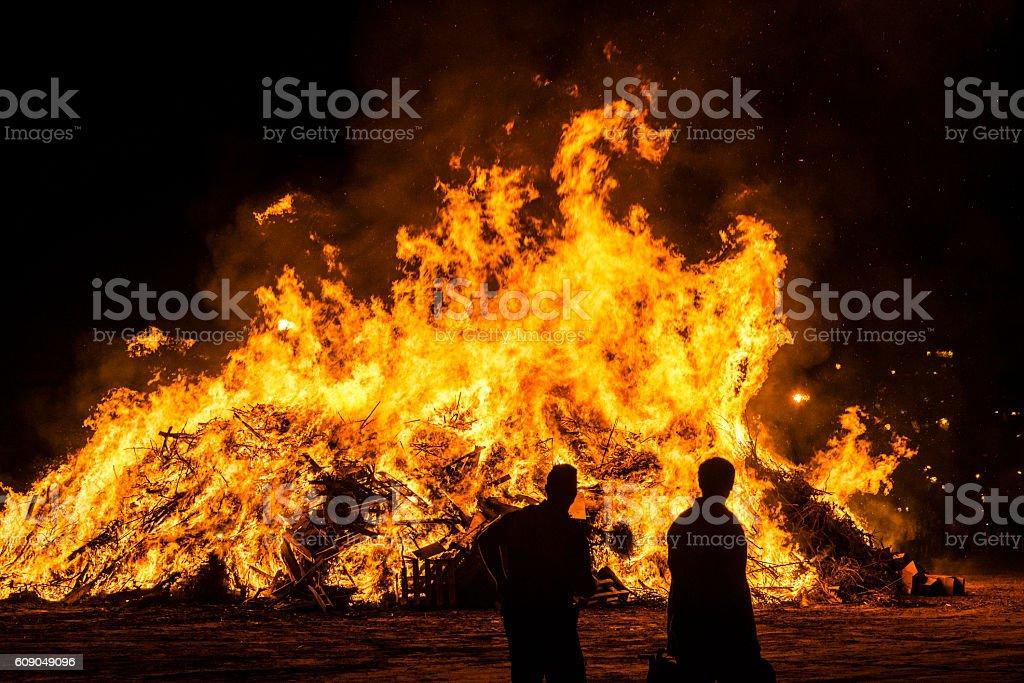 Bonfire on a beach at night, Costa Brava, Spain stock photo