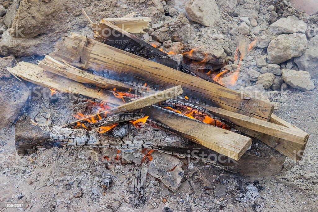 bonfire on construction site royalty-free stock photo