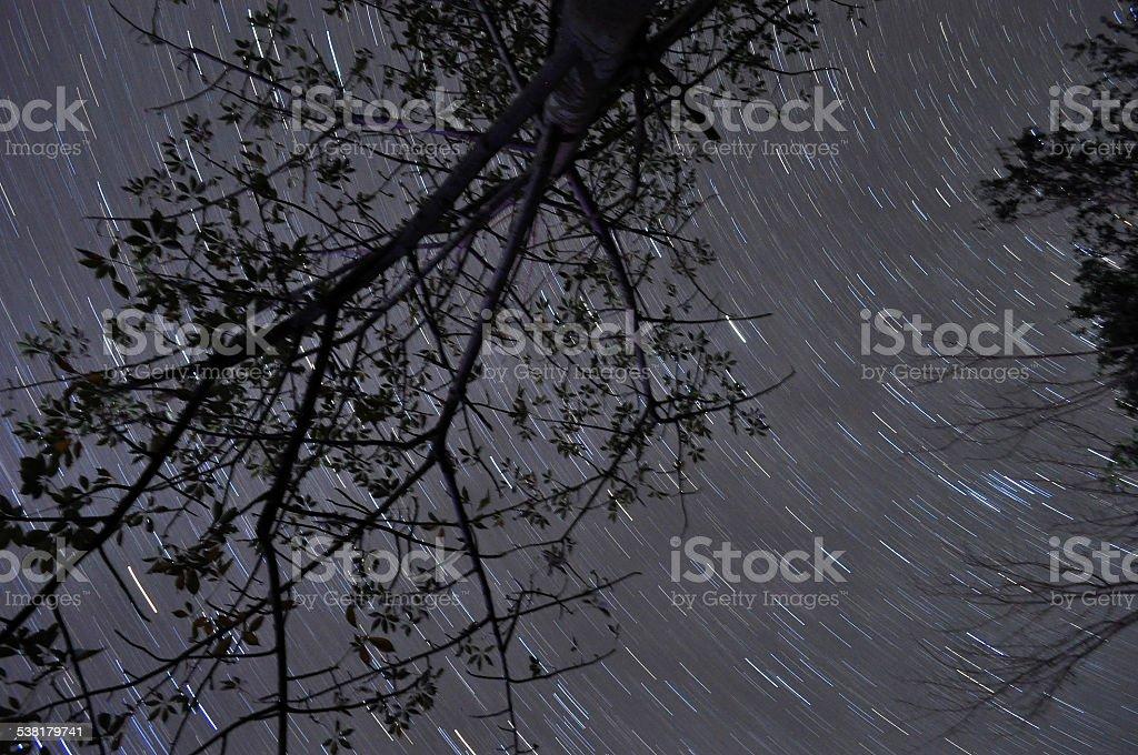 Bonfire reflection under star trails stock photo