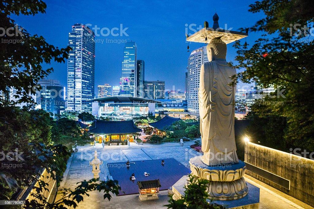 Bongeunsa Temple and Seoul wtc skyline stock photo