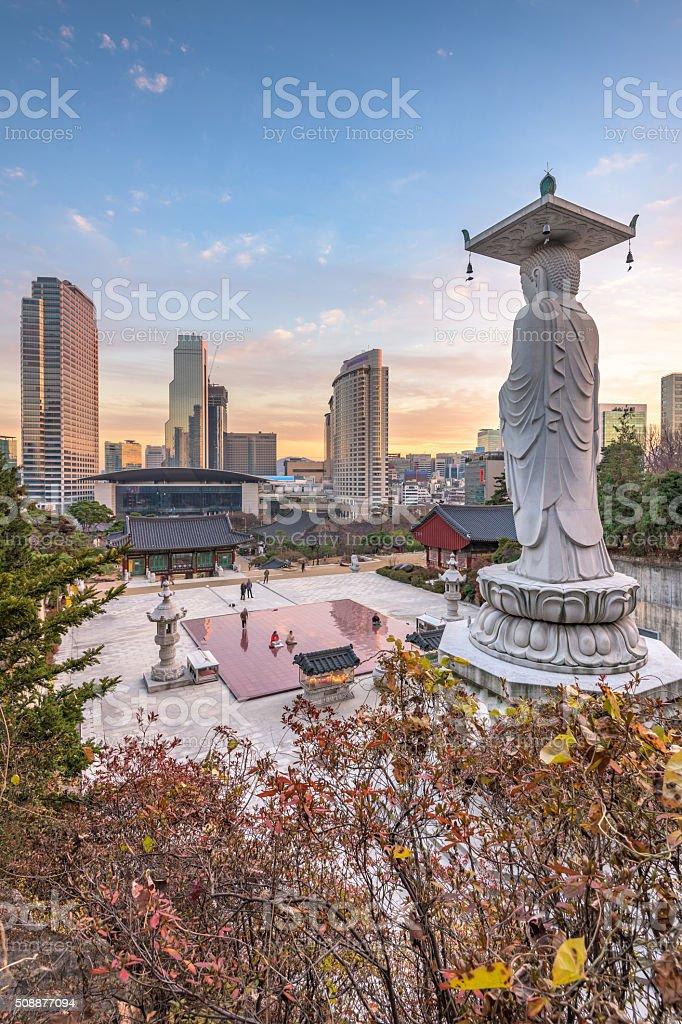 Bongeunsa temple in Seoul City, South Korea. stock photo