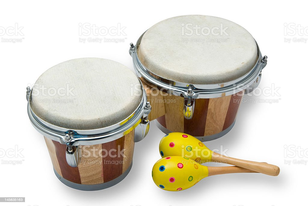 Bongo Drums and Maracas Isolated on White stock photo
