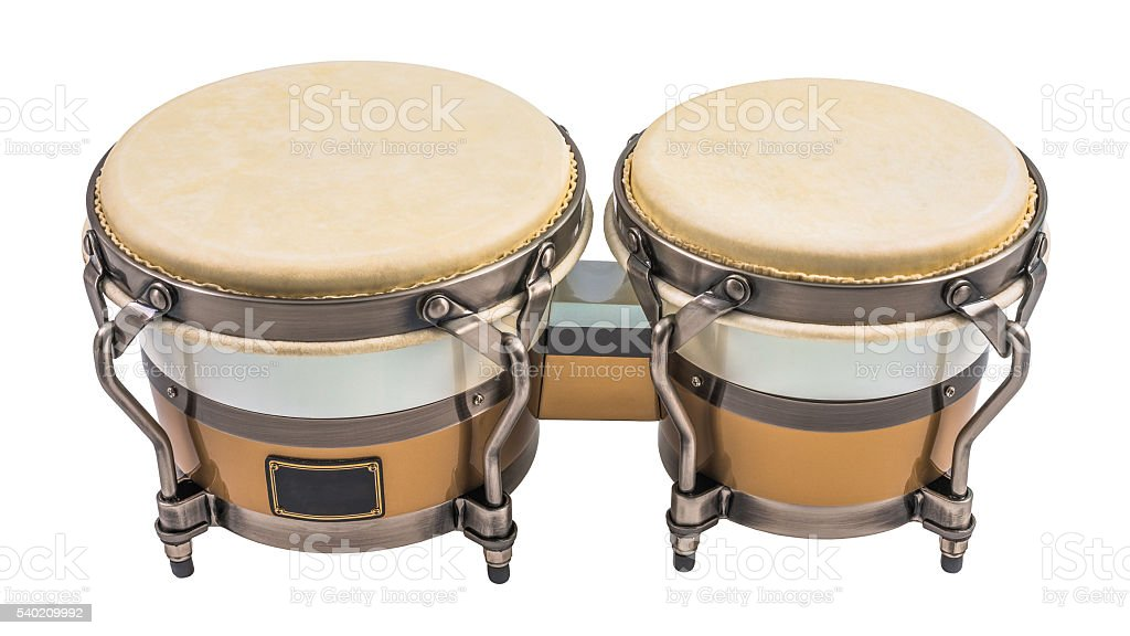 Bongo Drums Isolated on a White Background stock photo