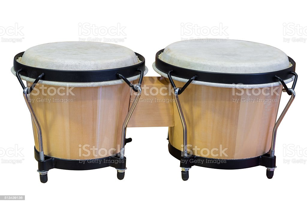 bongos isolated on white background stock photo