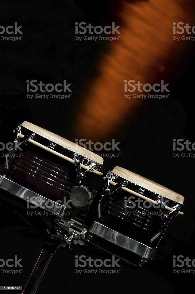 Bongos on stage in dramatic light stock photo